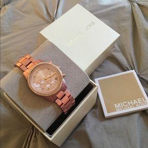 Michael Kors Ritz Pave Pink/Rose Gold Watch *NIB